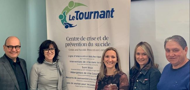 semaine prevention suicide 2020 deputes CReid et MPicard avec intervenants organisme LeTournant photo courtoisie