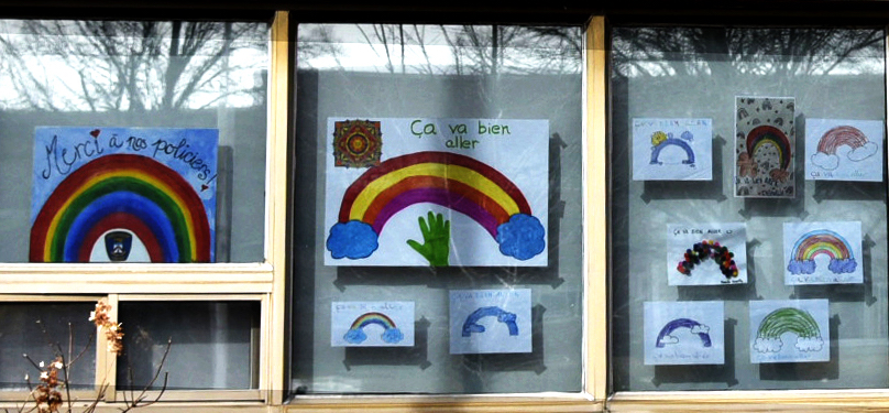COVID-19 dessins arc-en-ciel ca_va_bien_aller photo via Police Chateauguay