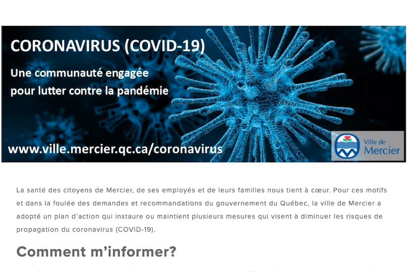 capture ecran site Web Ville Mercier section coronavirus 17mars2020